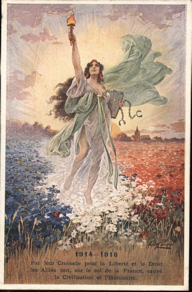 The Statue of Liberty in a Field World War I Postcard
