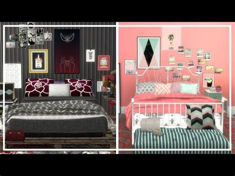 OPPOSITE TWINS BEDROOM SIMS 4 + CC List   Room Build - YouTube