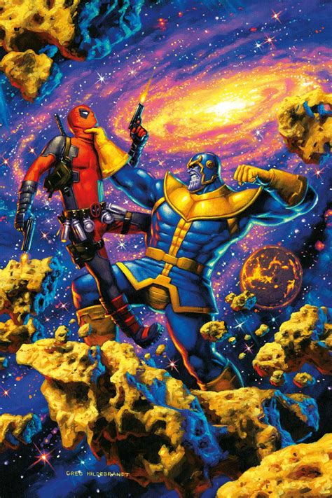 Thanos-Beats-Deadpool - Android Red