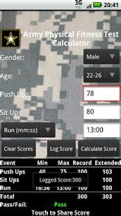 APFT Calculator w/ Score Log - Android Apps on Google Play