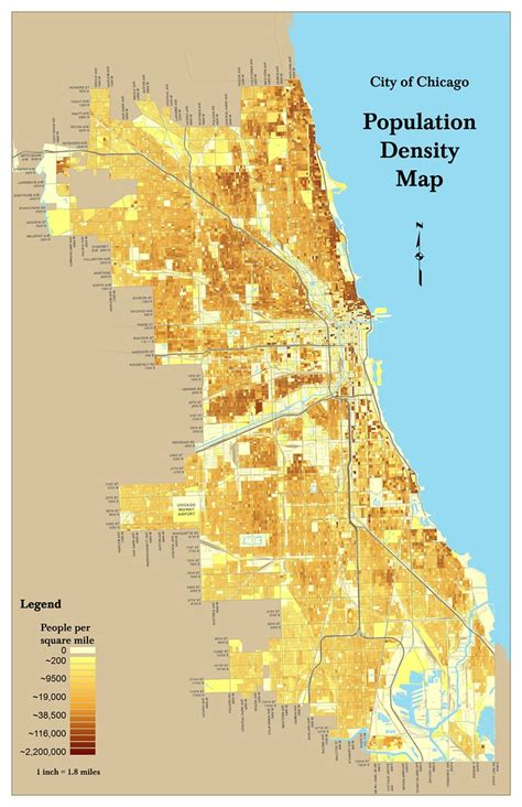 Chicago Population Density Map | By Census Block - 2000