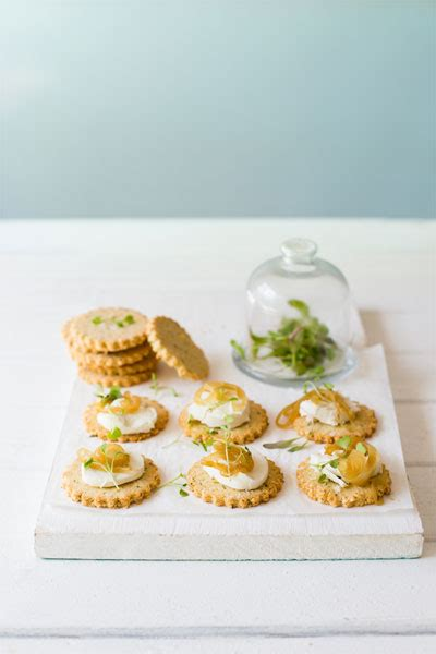 Gruyere Crackers with Goats Cheese & Caramelised Onions