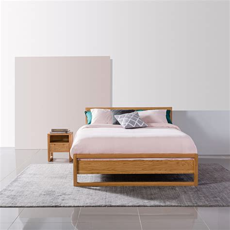 Bruno Solid Oak Queen Size Bed Frame - 213x162cm | Icon By