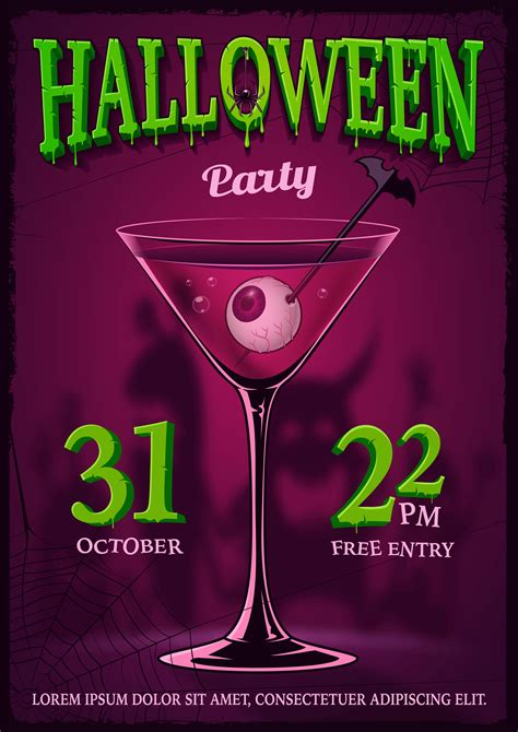 Halloween party poster with illustration of cocktail with